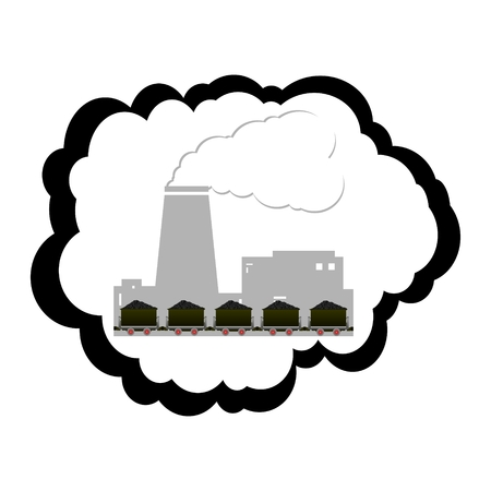 coal plant: Contour and plant trolleys with coal  Illustration on white background