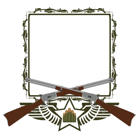 winchester: Two old Winchester and abstract icon with star and wings on the background of a frame with a pattern