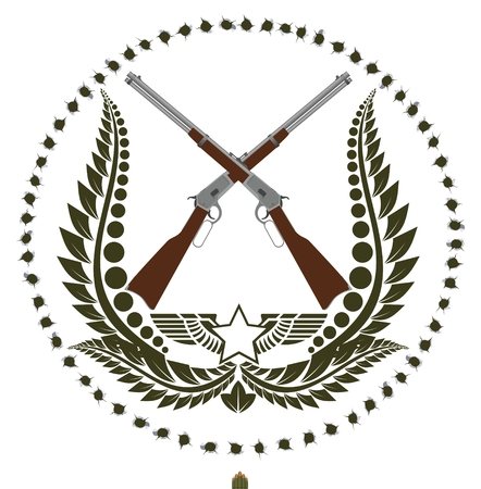 Two antique rifles and a wreath on the background of bullet holes  The illustration on a white background