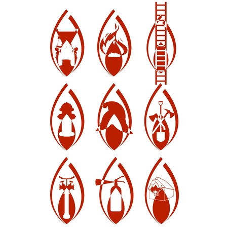 gaff: The icons on the theme of fire protection  Illustration on white background