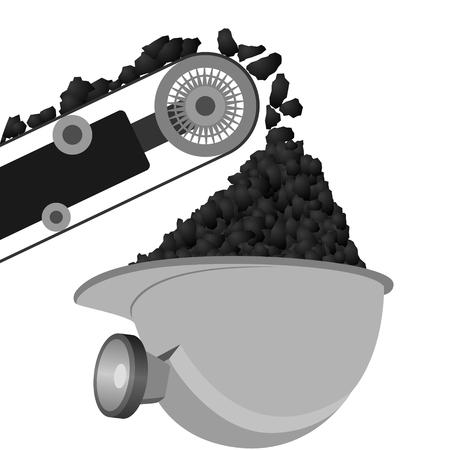 cinta transportadora: Cinta transportadora y casco con la ilustración de carbón sobre fondo blanco