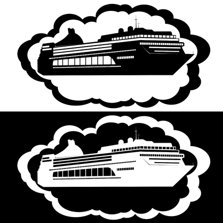 Icons with the image of a new cruise liner  The illustration on a white background  Vector