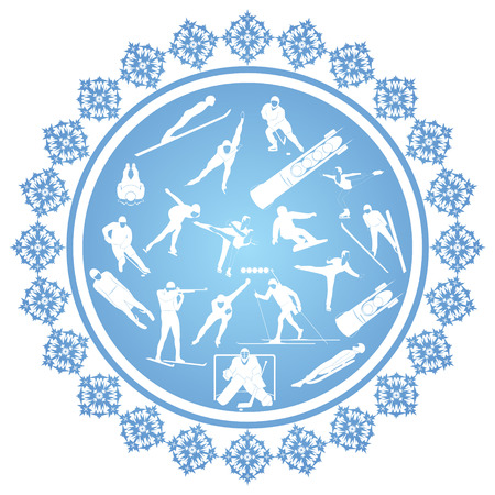sport invernali: Inverno competizioni sportive Illustrazione sul tema degli sport invernali