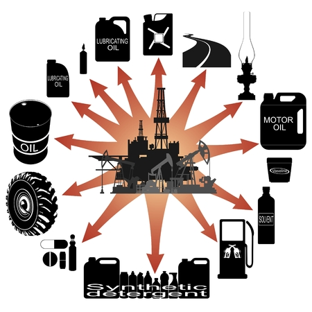 wheel barrel: Consumer goods made   from petroleum products  Illustration on white background