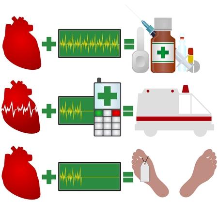 angina: Abstract image of heart disease  Illustration on white background  Illustration