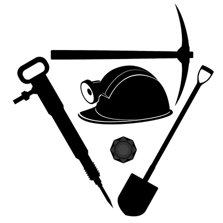 Miners helmet and tools for coal mining  Illustration on white background  Vector
