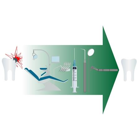 sillon dental: El tratamiento de la Ilustraci�n diente enfermo en el fondo blanco Vectores