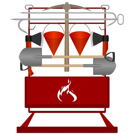 fire extinguishing: Firefighter shield with fire extinguishing tools  Illustration on white background
