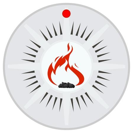 Flame sensor op een achtergrond van brandalarm