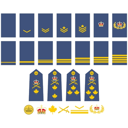Military ranks and insignia of the world. Illustration on white background.