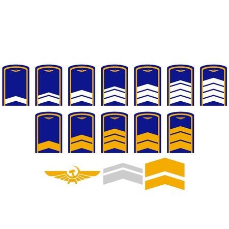 civil: Ranks and insignia of the of civil aviation world. Illustration on white background.