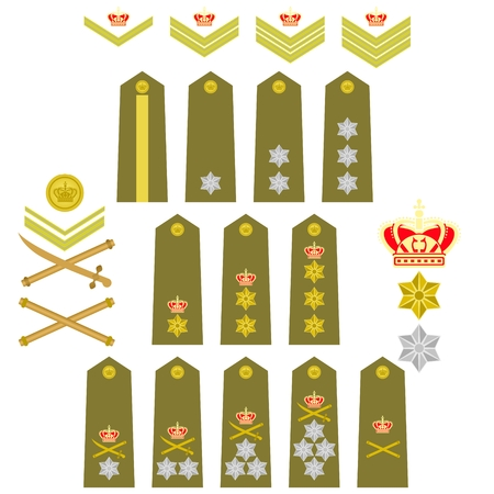 Military ranks and insignia of the world. Illustration on white background. Vector