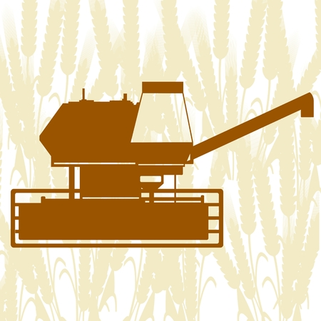 harvester: Agricultural machinery. Combine harvester on background of cereal ears. Illustration