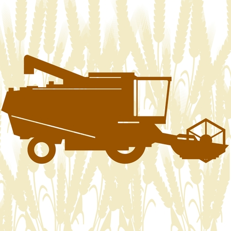 Agricultural machinery. Combine harvester on background of cereal ears. Vector