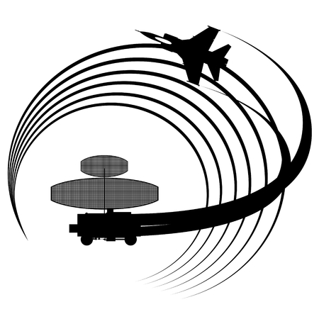detected: Contour flying military aircraft detected radar. The illustration on white background. Illustration