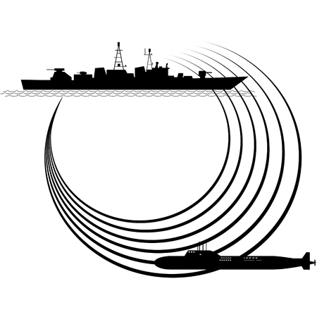 sonar: Il contorno della nave da guerra e sottomarini. L'illustrazione su sfondo bianco. Vettoriali