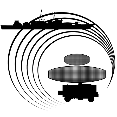 detected: Contour warship detected radar. The illustration on white background.