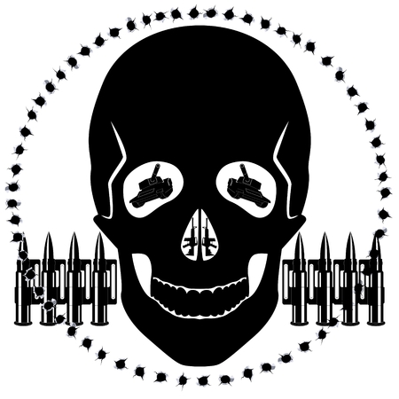 The contour of the human skull and military equipment on a background of bullet holes. The illustration on white background.