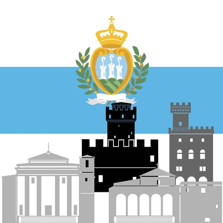 marino: State flags and architecture of the country. Illustration on white background.