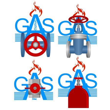 gas cylinder: Badges pipeline industry. Illustration on white background. Illustration