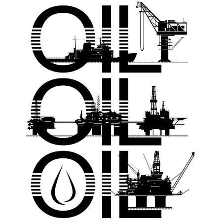 diving platform: Set of icons of the oil industry. The illustration on white background.
