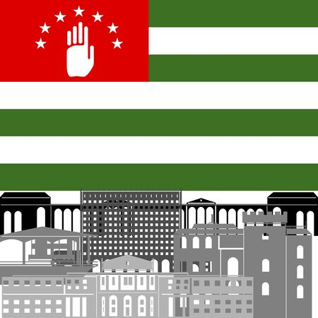 abkhazia: State flags and architecture of the country. Illustration on white background.