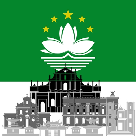 macau: State flags and architecture of the country. Illustration on white background.