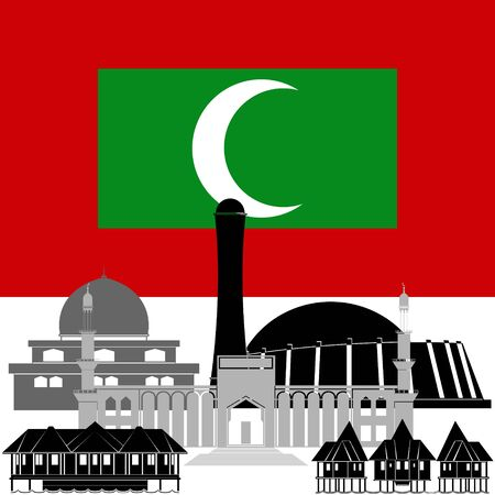 point of interest: State flags and architecture of the country. Illustration on white background.