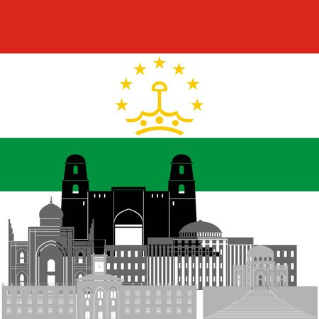 tajikistan: State flags and architecture of the country. Illustration on white background.