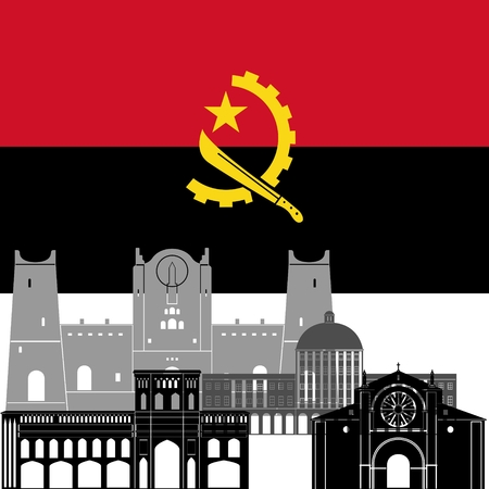 angola: State flags and architecture of the country. Illustration on white background.