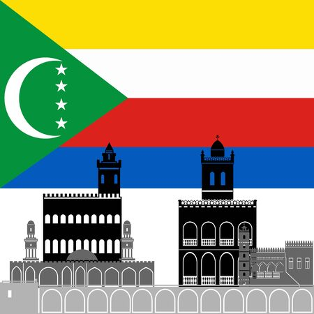 comoros: State flags and architecture of the country. Illustration on white background.