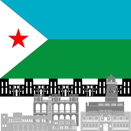 State flags and architecture of the country. Illustration on white background. Vector