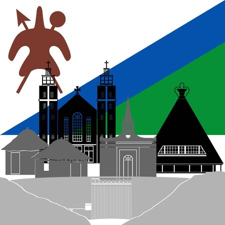 lesotho: State flags and architecture of the country. Illustration on white background.