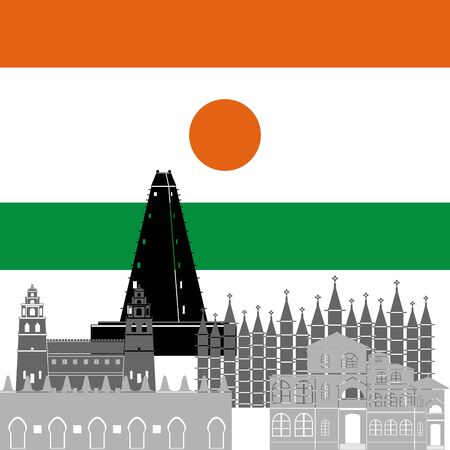 point of interest: State flag and architecture of the country. Illustration on white background.