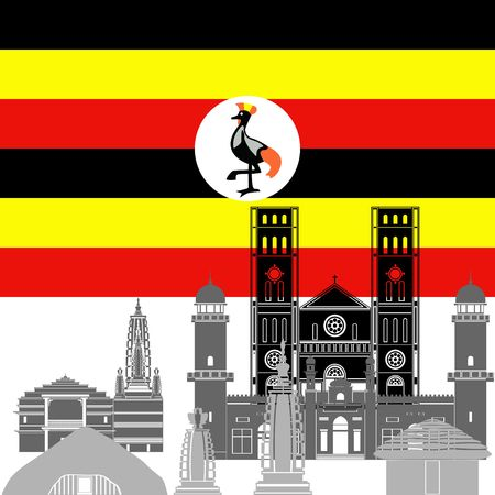 uganda: State flag and architecture of the country. Illustration on white background.