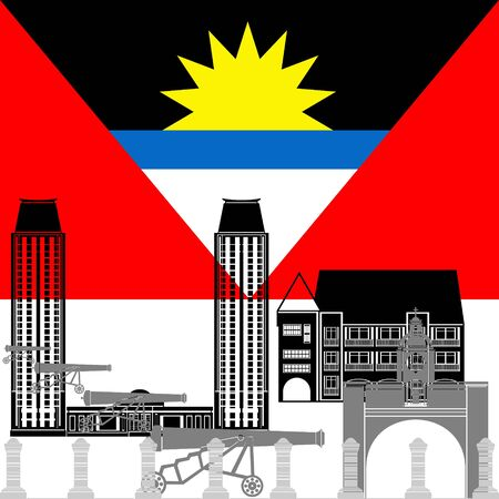 barbuda: The national flag of the country and the contour image of architectural landmarks of this country. Illustration on white background. Illustration