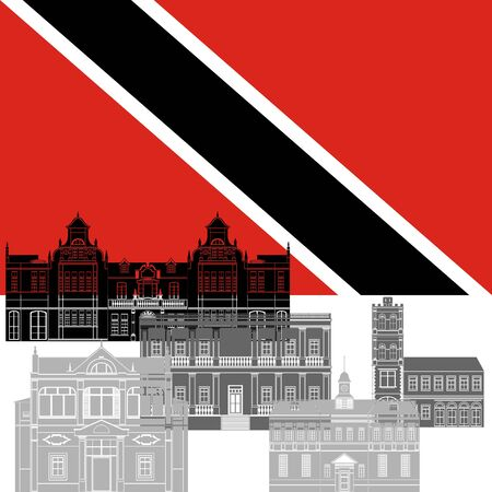 trinidad: The national flag of the Trinidad and Tobago and the contour image of architectural landmarks of this country. Illustration on white background.