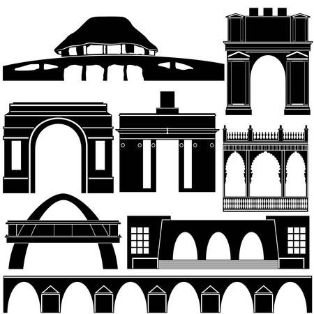 the contour: Contour collection of buildings and structures.
