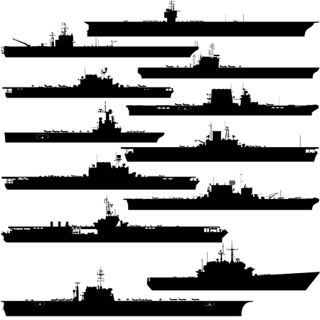 military aircraft: Contour image of aircraft carriers. Illustration on white background.