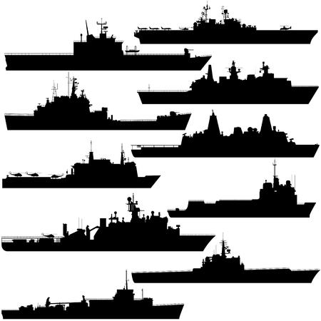 amphibious: Contour image of amphibious ships. Illustration on white background. Illustration