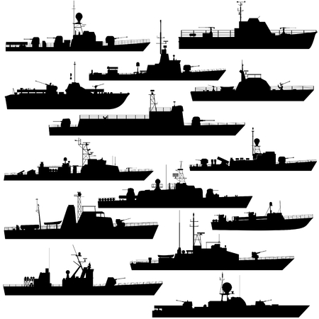 patrol: Contour image of military patrol boats. Illustration on white background.
