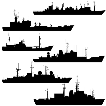 fleet: Contour image scout ships. Illustration on white background. Illustration