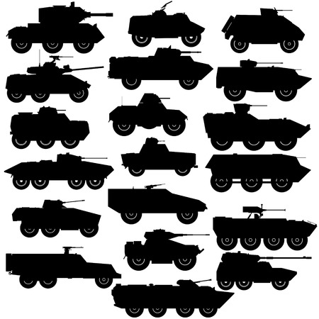 armored: Abstract contour image of modern armored vehicles. Illustration on white background. Illustration