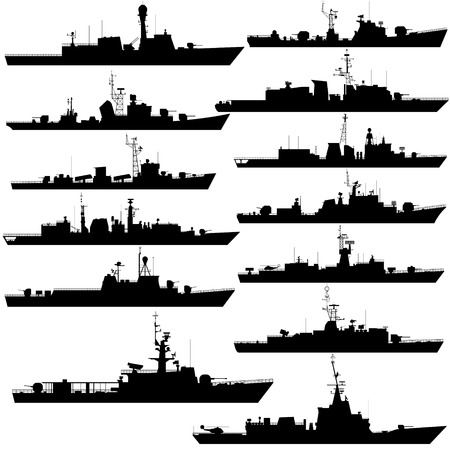 frigate: The contours of warships, frigates and corvettes. Illustration on white background.