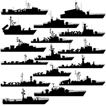 fleet: The contours of warships, missile boats. Illustration on white background.