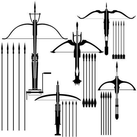 armbrust: Contour Bild von einem alten Kleinwaffen. Illustration auf wei�em Hintergrund. Illustration