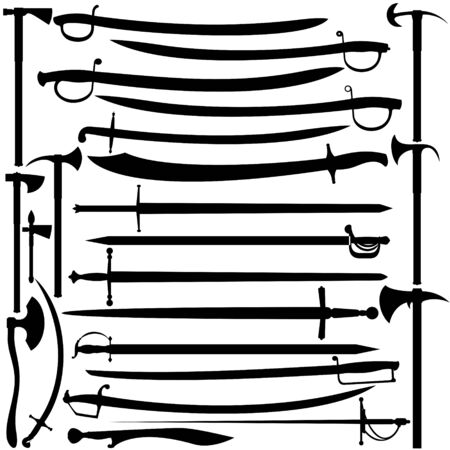 broadsword: Set of piercing-cutting and slashing weapons. Illustration on white background.