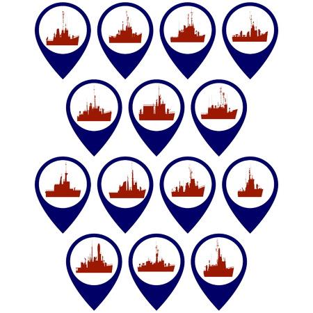 corvette: Badges with warships, corvettes and frigates. Illustration on white background.