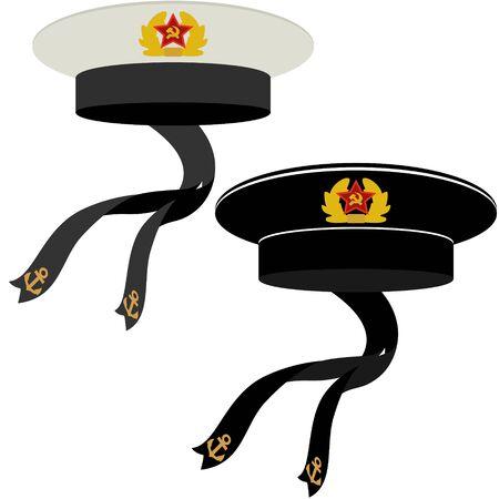headgear: Headgear sailors of the Soviet Navy. The illustration on a white background.