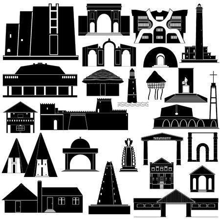 point of interest: Contour collection of buildings and structures. Illustration on white background.